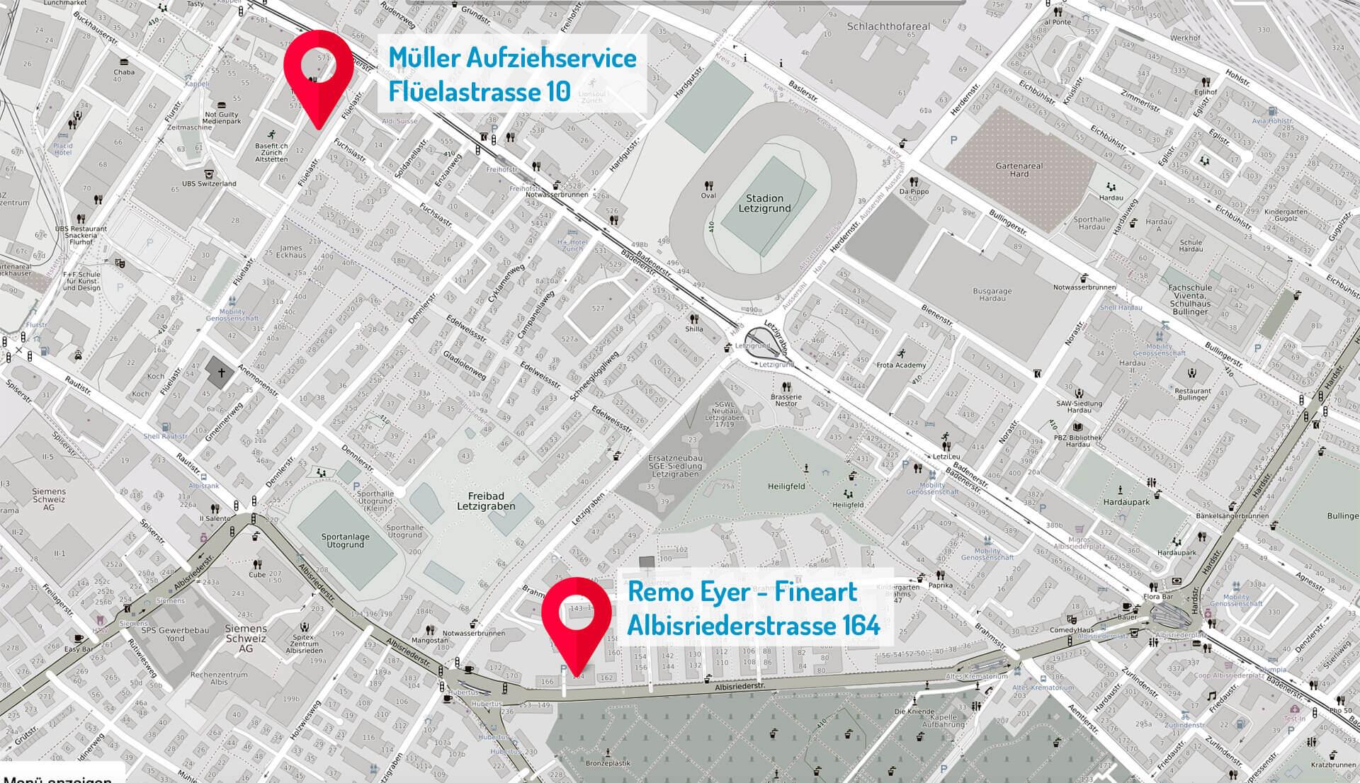 Müller's Aufziehservice Zürich (Karte)